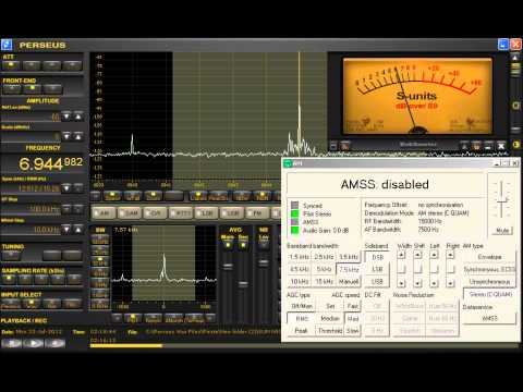 "6945 KHz ""X-FM Shortwave"" Pirate C-QUAM AM Stereo Test Perseus SDR + SoDiRa"