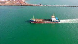 Cargo Ship Sailing Stock Video