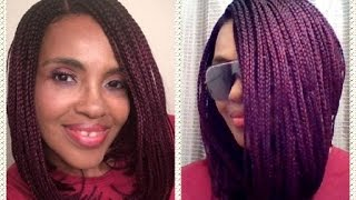 NEW!!  ZURY SIS LOB ANGLED BRAIDED BOB WIG - LIlly Purple