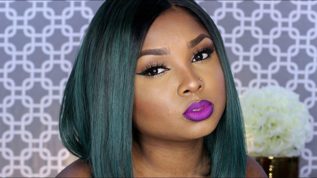 bold purple lips and cat eyeliner full face tutorial