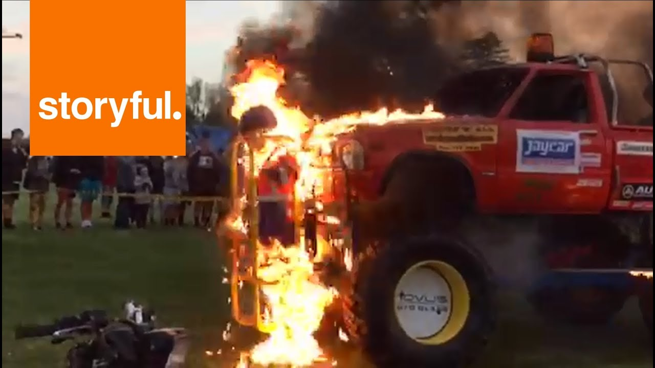 13-year-old Girl Strapped To Monster Truck For Fire Stunt  Storyful  Crazy