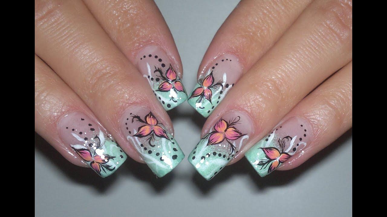 bright flower video nail art tutorial