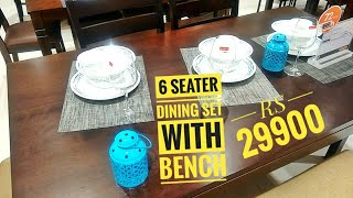 6 seater dining table set   6 seater dining set with bench for rs 29900   new model dining table