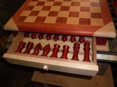 Hand made chess board and set