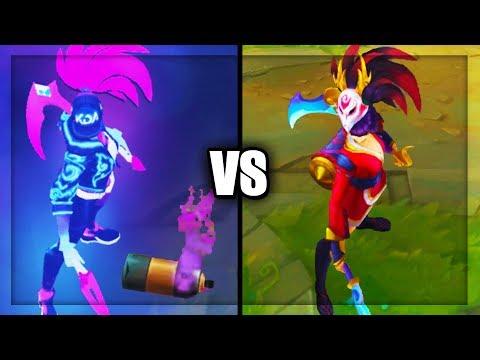 Neon KDA Akali vs Blood Moon Akali Best Akali Skins Comparison (League of Legends)