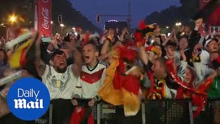Fans celebrate wildly as Germany scores winning goal against Sweden