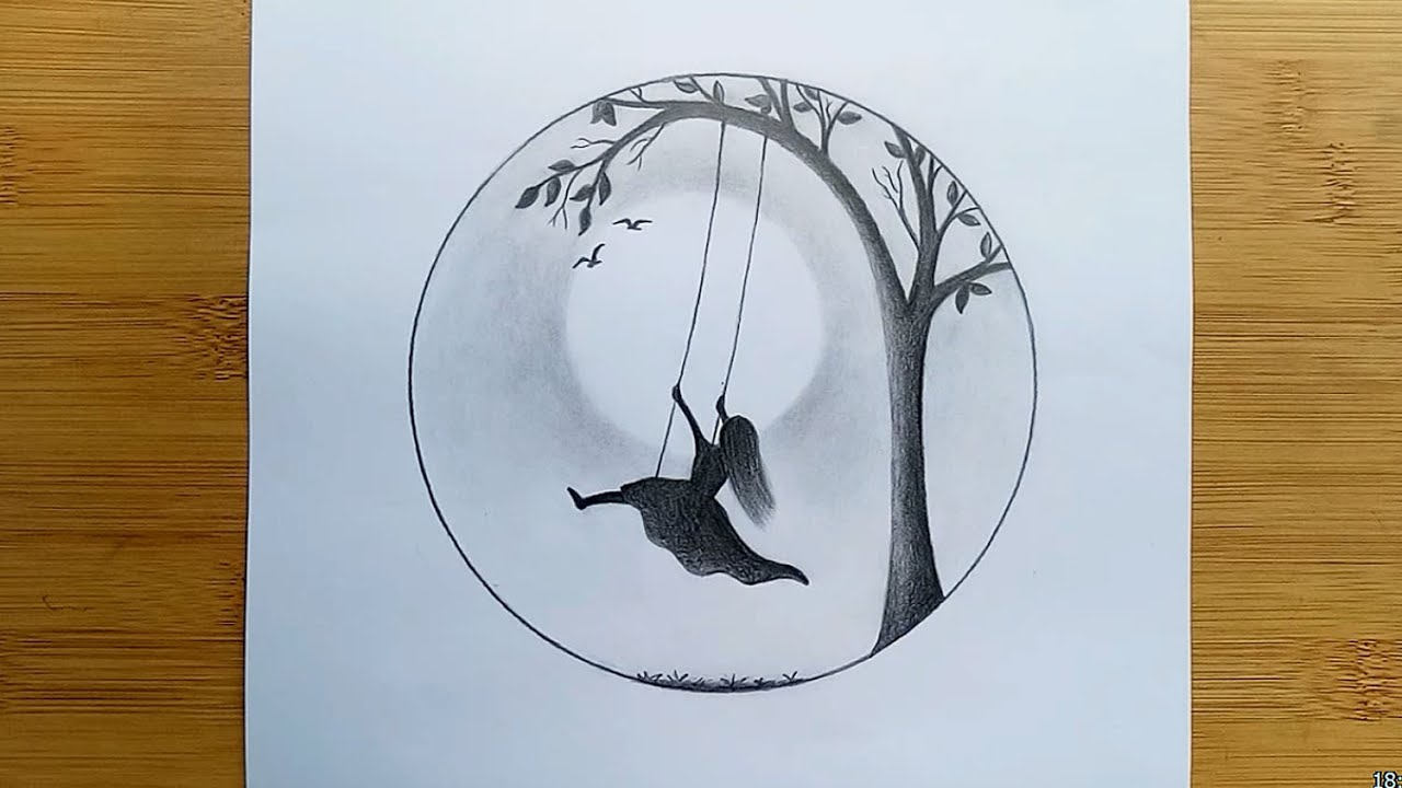 How to draw Alone Girl Swinging in a tree || Pencil Sketch Step by Step