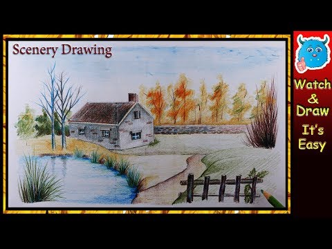 How to Draw Scenery of Nature (Easy Landscape Drawing for Children)