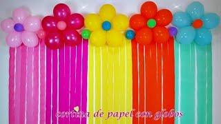 CORTINAS DE PAPEL CON  GLOBOS😮/ paper curtains with balloons