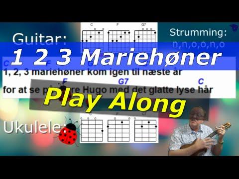 123 mariehøner. Lær at spille ukulele. Play along.