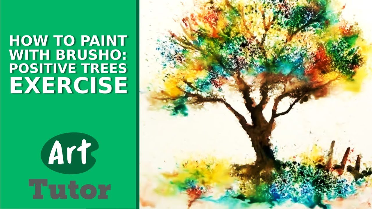 how to paint with brusho positive trees exercise youtube. Black Bedroom Furniture Sets. Home Design Ideas