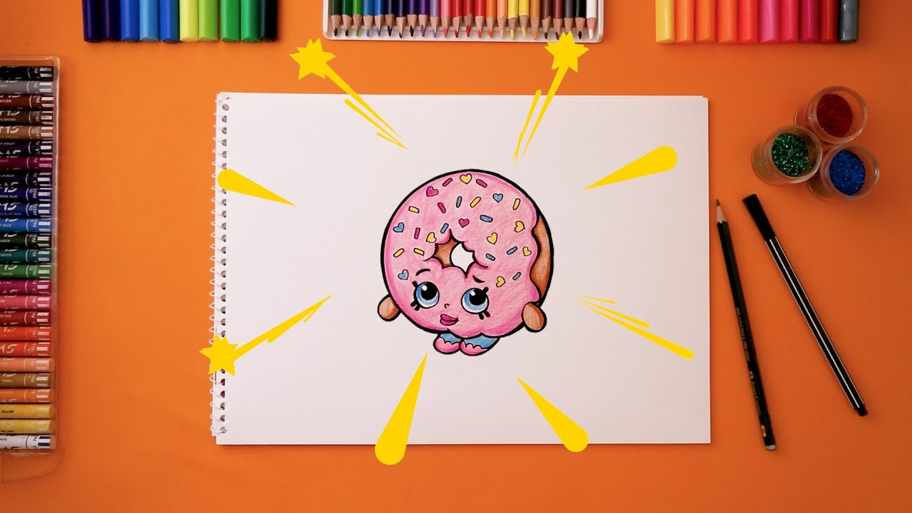 How to Draw Shopkins D''lishDonut - Let's Draw|كيف نرسم شخصيات الشوبكنز  - لنرسم معاً