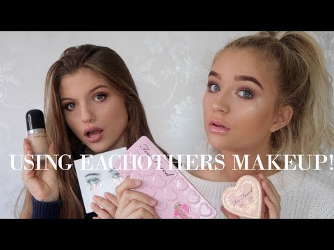DOING OUR MAKEUP USING EACHOTHERS MAKEUP BAGS