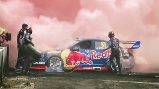 Jamie Whincup takes on Summernats 29 burnout competition in a V8 Supercar