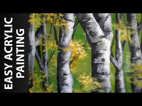 How to Paint a Forest of Birch Trees with Acrylics for Beginners