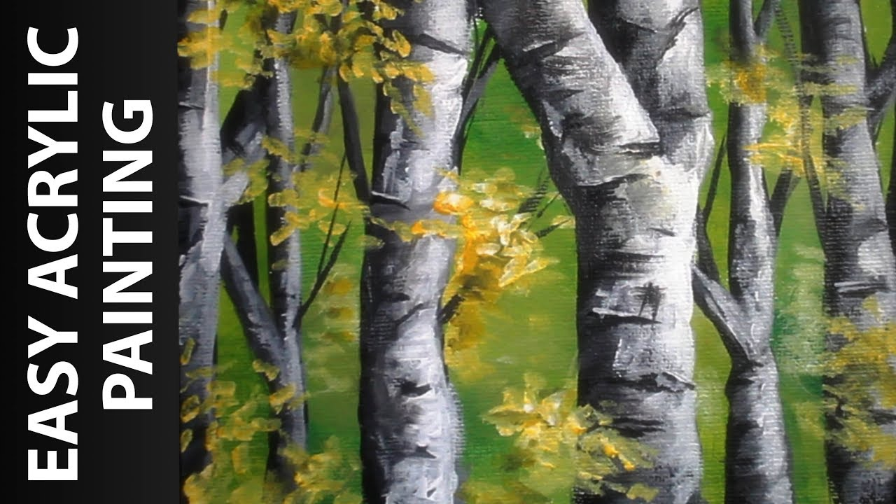 How to Paint a Forest of Birch Trees with Acrylics for Beginners ...