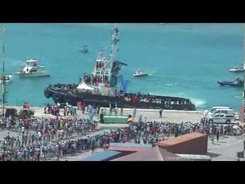 Sinterklaas arrives at Aruba Ports Authority on 11/17/2013