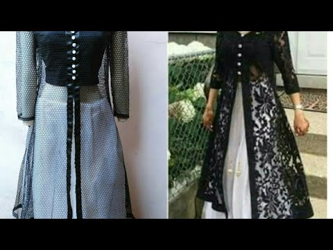 Designer long dress with open front jacket| front slit kurti cutting and stitching