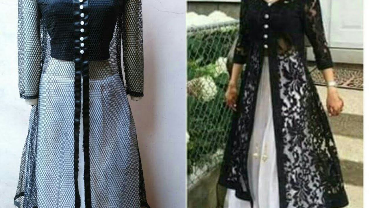 Designer Long Dress With Open Front Jacket Front Slit Kurti Cutting