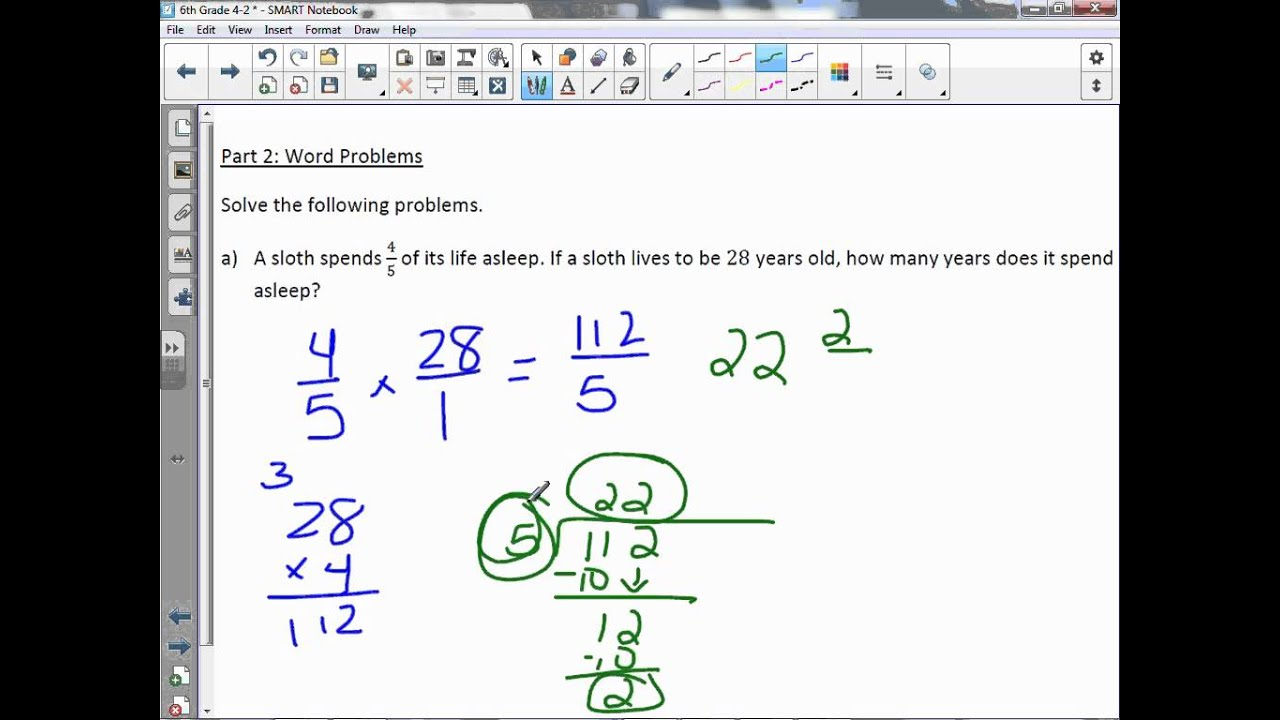 6th Grade 4-2: Multiply Fractions and Whole Numbers - YouTube