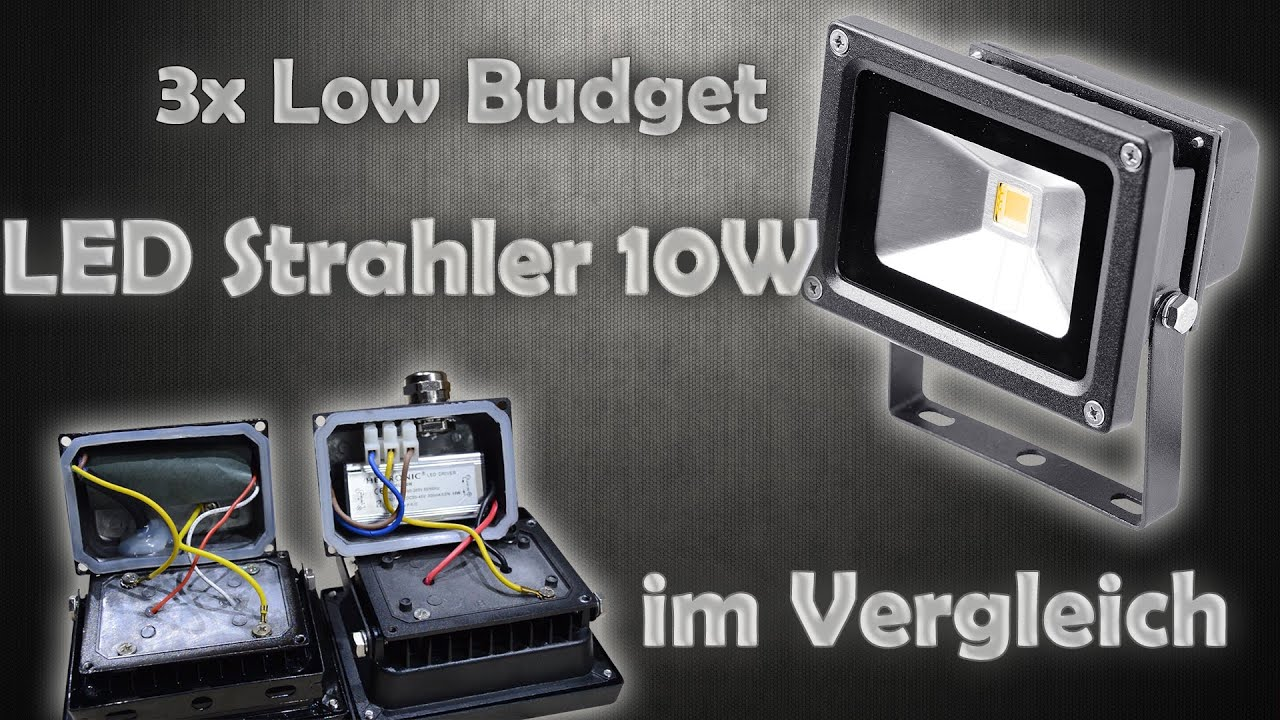low budget led strahler 10w im vergleich mongos werkstatt youtube. Black Bedroom Furniture Sets. Home Design Ideas
