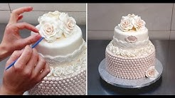 Roses & Pearls Cake - Wedding Cake Idea by Cakes StepbyStep