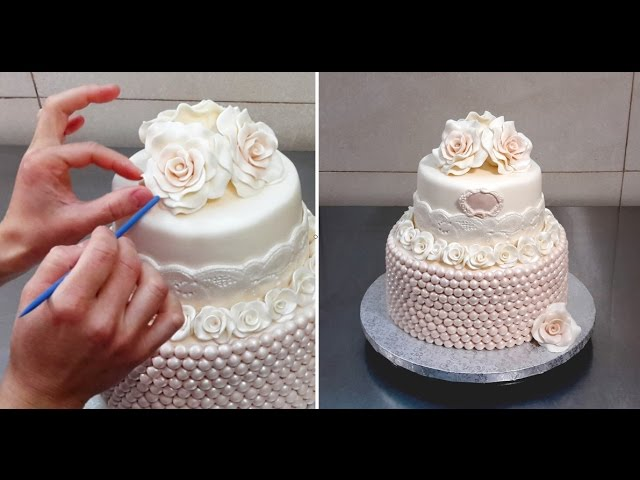 Roses & Pearls Cake - Wedding Cake Idea by Cakes StepbyStep
