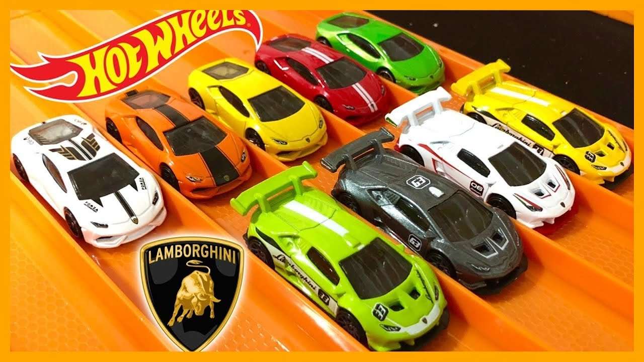 9 x lamborghini huracan variations and colors - hot wheels - youtube