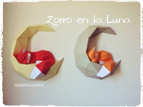 🦊 Zorro En La Luna 🌙 / 3D PAPERCRAFT / FOX On The MOON. Consigue Las Plantillas.