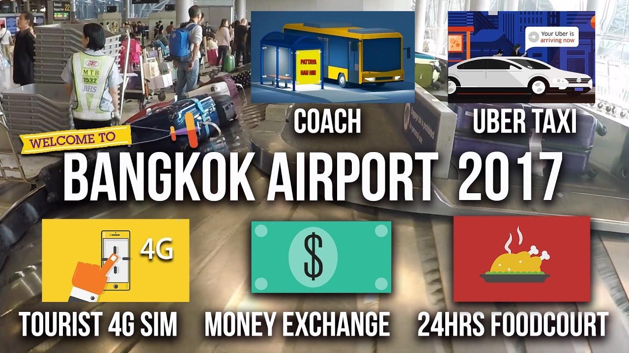 Suvarnabhumi Airport Bangkok Thailand 2017 Money Exchange Tourist Sim Uber Taxi 泰國曼谷國際機場