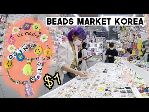 Cheap Beads Market in Seoul, Korea (Making bracelets inspired by J-Hope lol) | Q2HAN