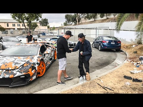 FEEDING THE HOMELESS IN LOS ANGELES FROM A LAMBORGHINI! * EMOTIONAL*