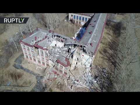 RAW: Slowly-sinking ghost town captured by drone