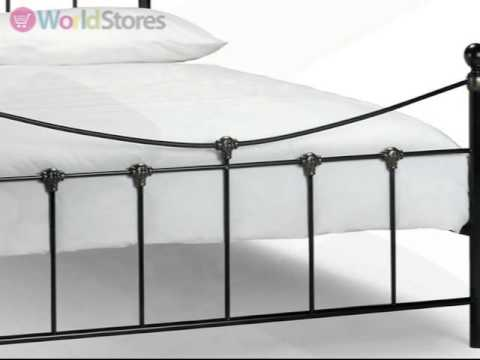 Rebecca Bed Frame In Satin Black And Antique Gold