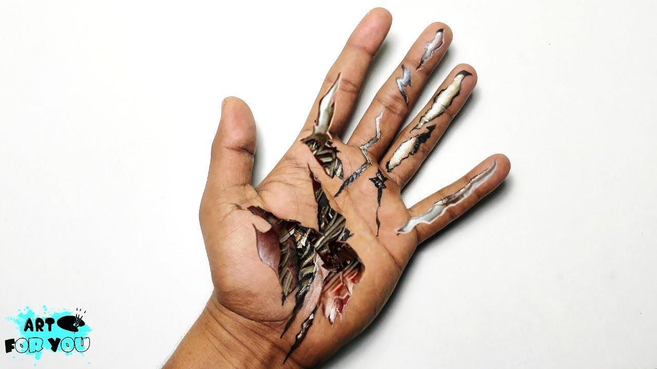 Realistic Robot Hand   Cool 3d hand art   Robotic hand Optical illusion