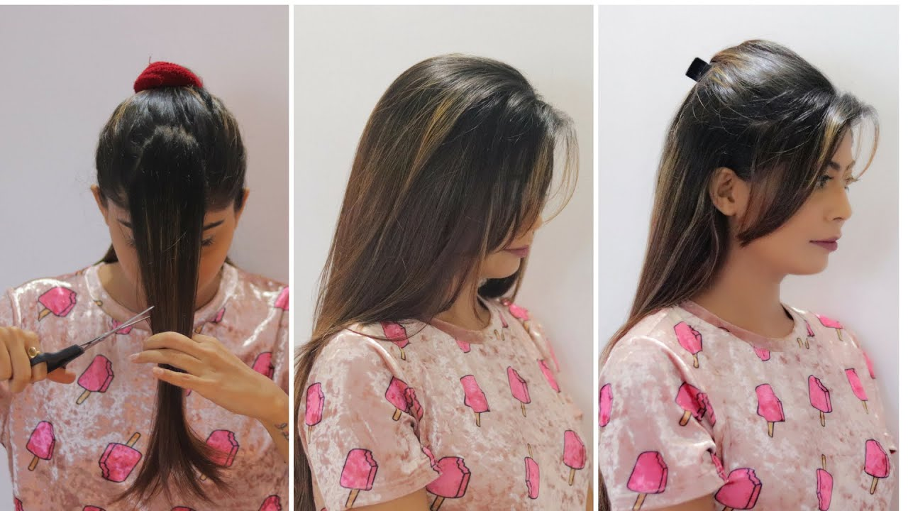 How to cut your own hair at home  Side swept bangs, Flicks  Rinkal Soni