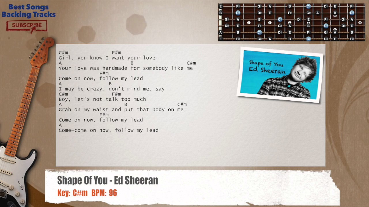 Shape Of You Ed Sheeran Guitar Backing Track With Chords And