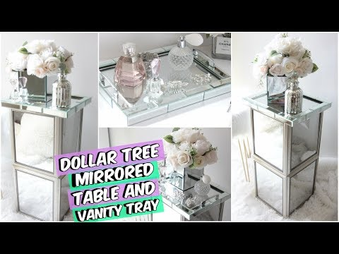 DOLLAR TREE MIRRORED END TABLE DIY ROOM DECOR