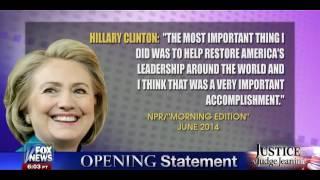 • Judge Jeanine Pirro • Hillary Clinton Is On The Run • 4/18/15 •
