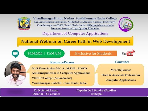 National Webinar On Career Path In Web Development