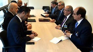 الدكتور إبراهيم الجعفري وزير الخارجية العراقية ووزير خارجية الجزائر رمطان العمامرة في جنيف