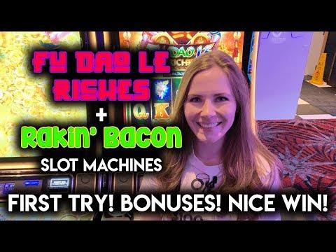 NEW! Fu Dao Le Riches and Rakin Bacon! Slot Machines! $8.88 Spins! BONUSES! NICE WIN!!