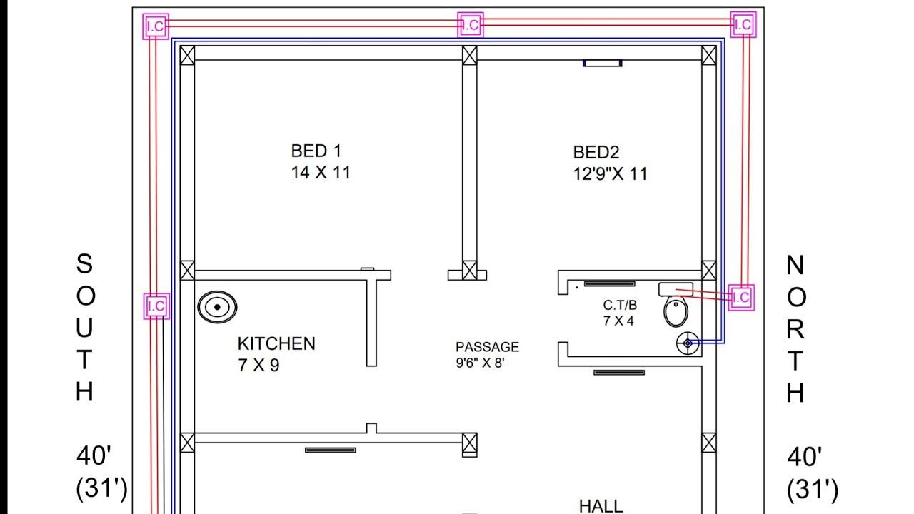 28 × 30 east face 3bhk house plan map naksha design
