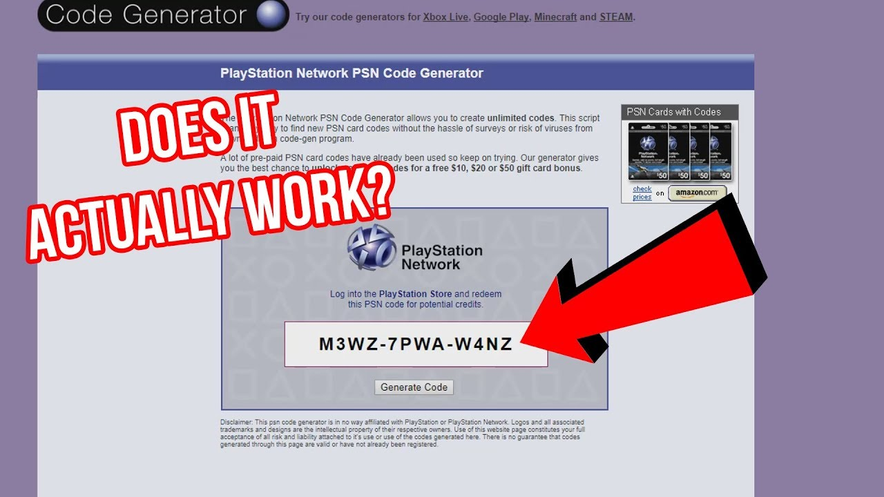 The PSN CODE GENERATOR Scam Site Experiment