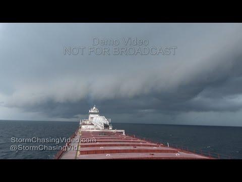 Lake Michigan Intense Shelf Cloud Over Freighter - 8/12/2016