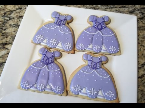 PART ONE Sofia The First Dress Cookies(How To) - YouTube