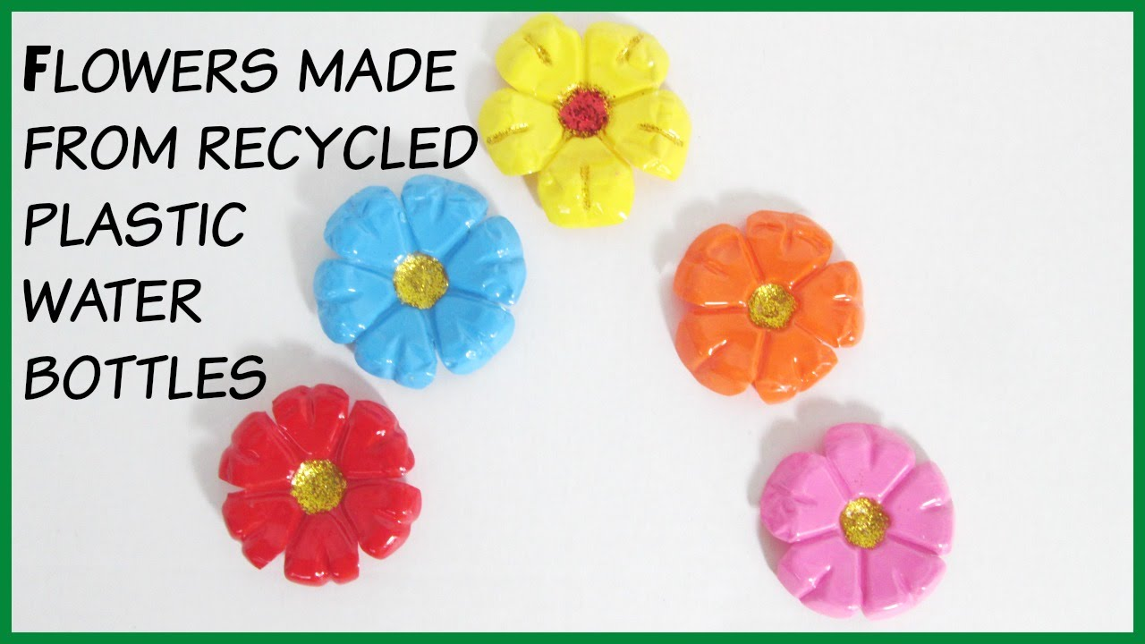 Diy flowers made from recycled plastic water bottles youtube for Recycled products from plastic bottles