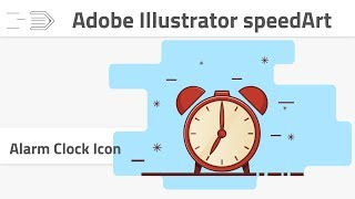 Create flat line alarm clock icon | Adobe Illustrator speedArt