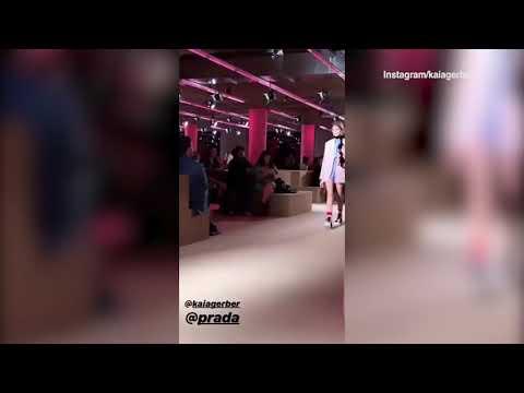 Video: Kaia Gerber catwalks at Prada's Resort 2020 fashion show