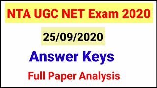 NTA UGC NET Paper Analysis held on 25/09/2020| UGC NET Exam asked questions|NTA UGC NET Answer keys
